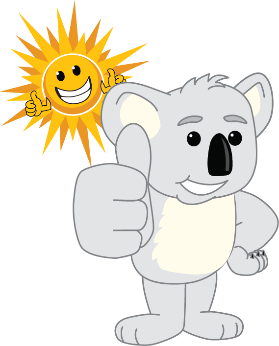 koala and sun thumbs up