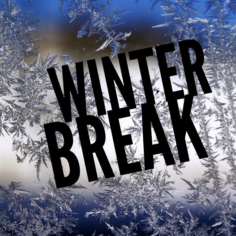 Winter Break with snowflake background