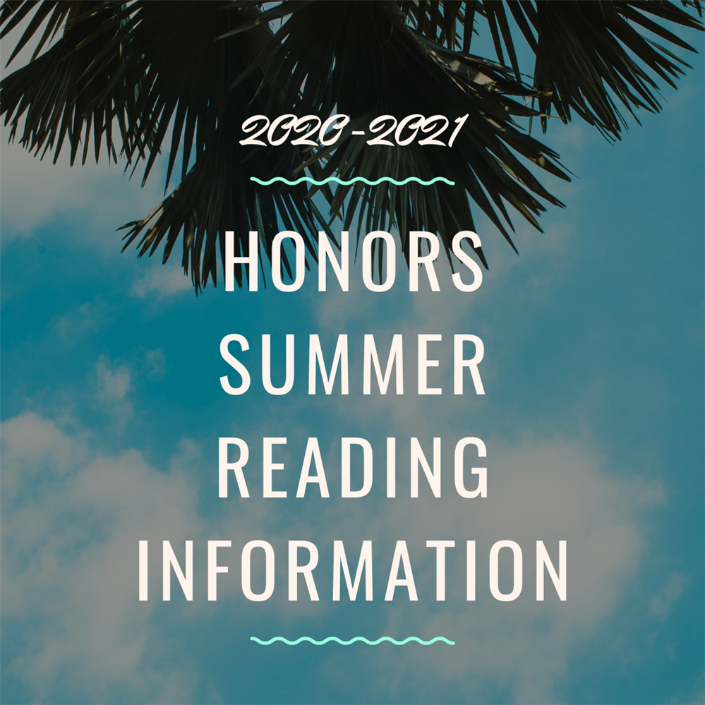 honors summer reading information graphic with sky and palm tree background