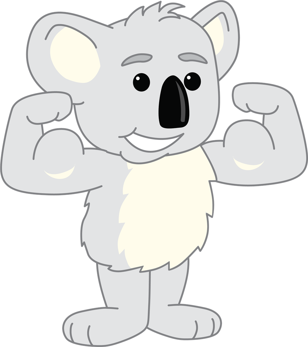 koala flexing muscles
