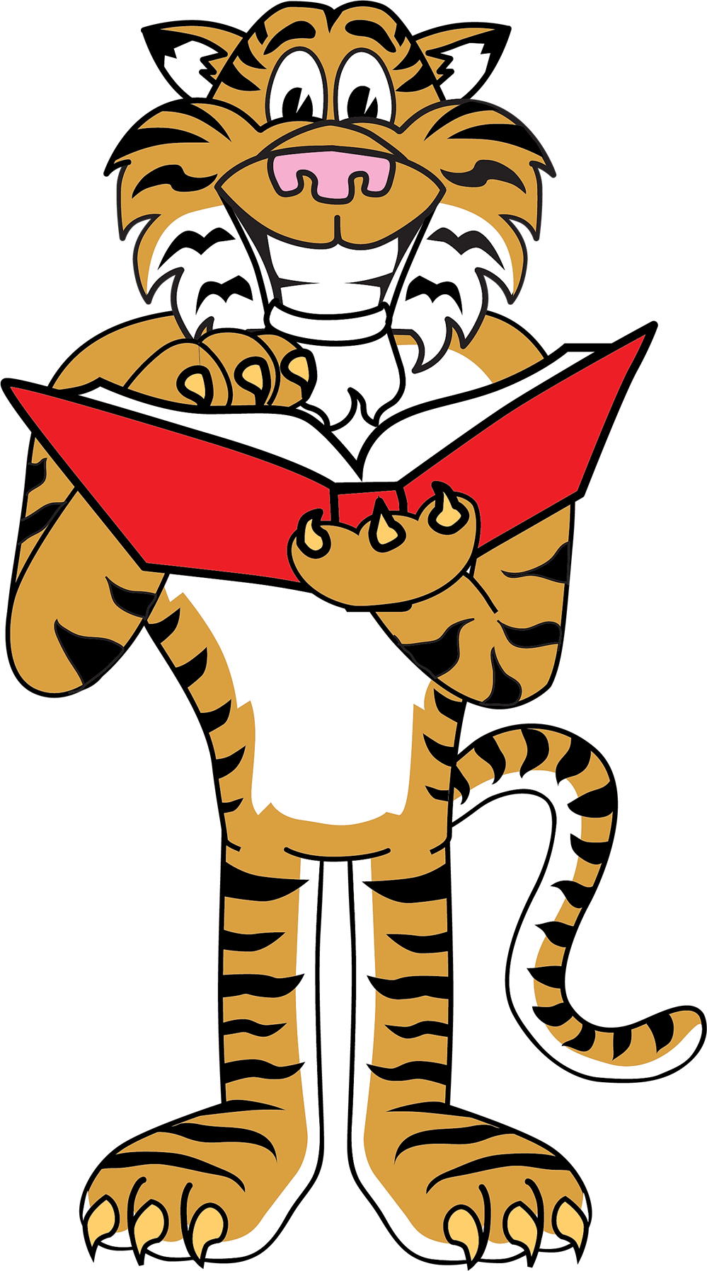 tiger mascot holding a book
