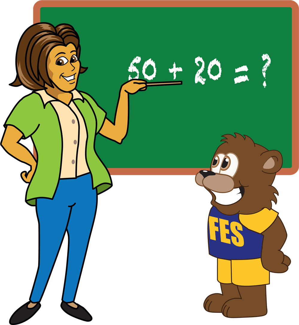 Bear and Teacher at Blackboard
