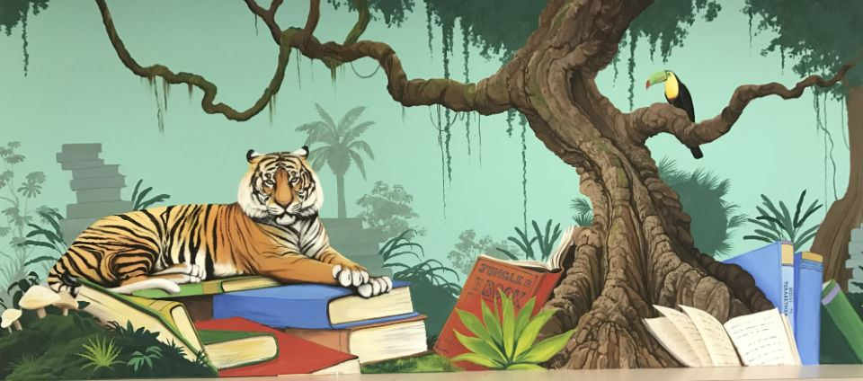 Rainforest Mural painted in the library